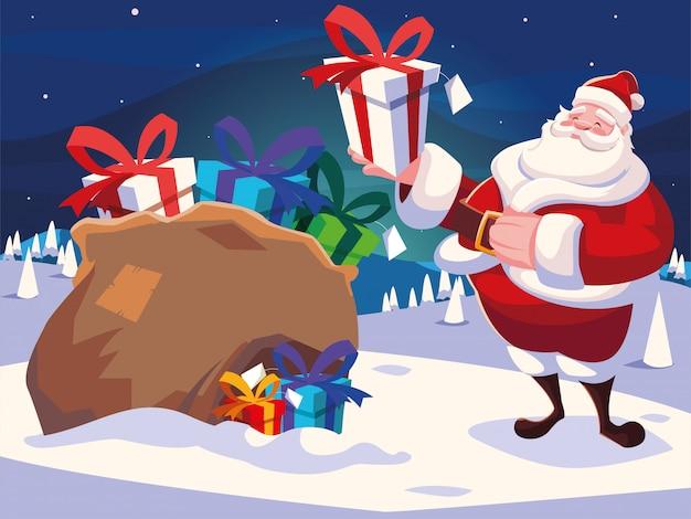 Dibujos animados de navidad de santa claus con bolsa de regalos en el paisaje de invierno