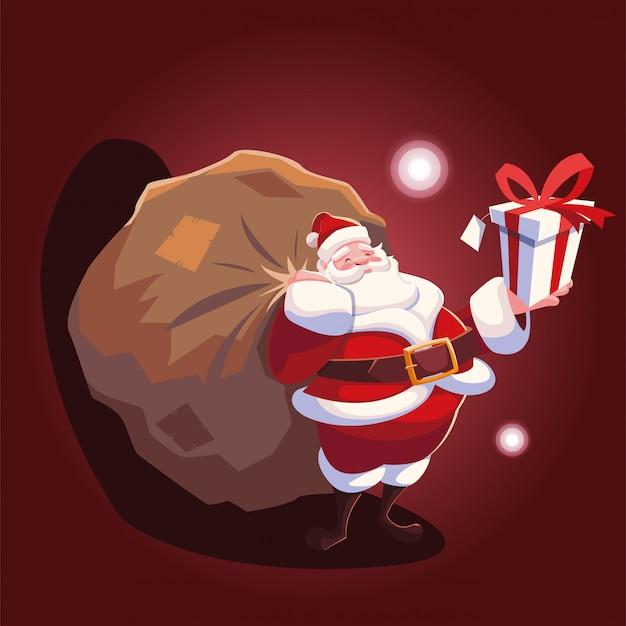 Dibujos animados de navidad de santa claus con bolsa de regalos