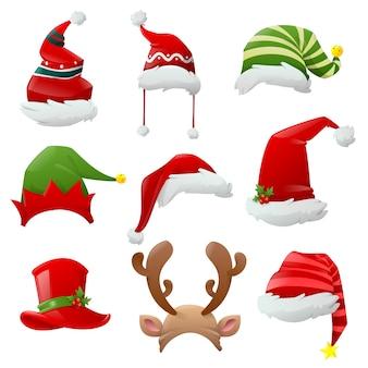 Dibujos animados navidad santa sombreros