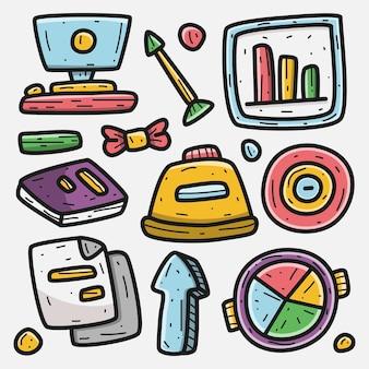Dibujos animados de negocios doodle kawaii diseño ilustración