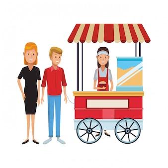 Dibujos animados de negocios de palomitas de maíz