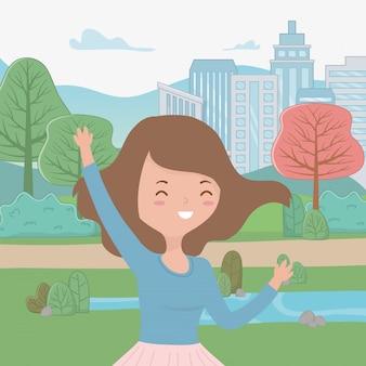 Dibujos animados de niña adolescente