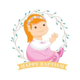 Dibujos animados de niña entre corona de hojas. tarjeta de bautismo