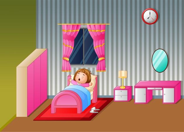 Dibujos animados niña despertando y bostezando