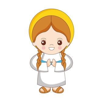 Dibujos animados de niña maría rezando con trenzas