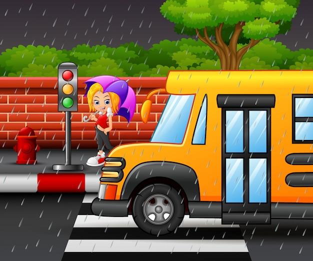 Dibujos animados de una niña con paraguas