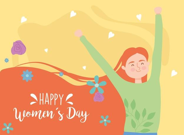 Dibujos animados de niña roja marrón feliz día de la mujer con diseño de manos arriba de ilustración de tema de empoderamiento de mujer
