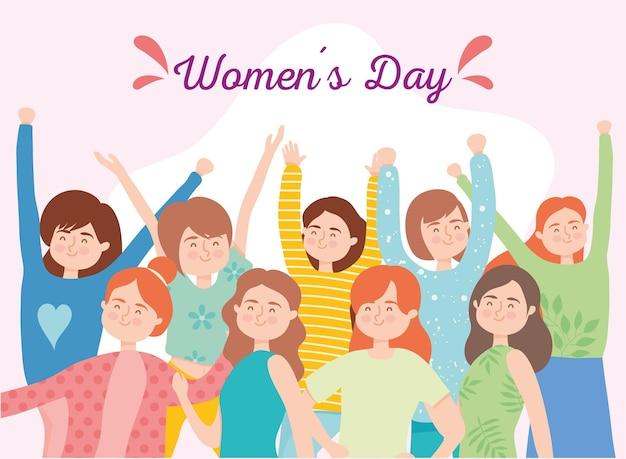 Dibujos animados de niñas del día de la mujer con diseño de manos arriba de ilustración de tema de empoderamiento de la mujer