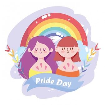 Dibujos animados de niñas con diseño de arco iris y hojas lgtbi