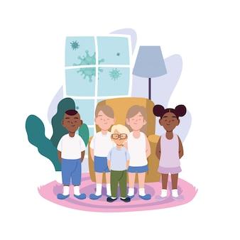 Dibujos animados de niñas y niños en la habitación del hogar