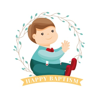 Dibujos animados de niño entre corona de hojas. tarjeta de bautismo