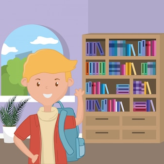 Dibujos animados de niño de diseño escolar