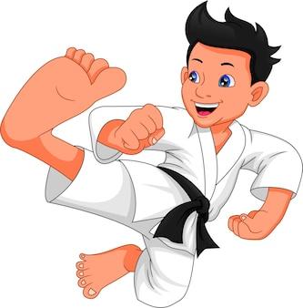 Dibujos animados de niño de karate