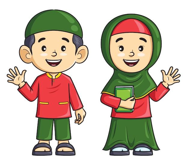 Dibujos animados niño y niña musulmana