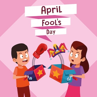 Dibujos animados de niño y niña de tontos de abril