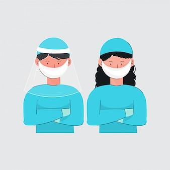 Dibujos animados niño y niña con uniforme médico protector sobre fondo gris.
