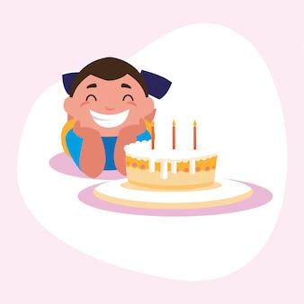 Dibujos animados de niño con pastel de feliz cumpleaños
