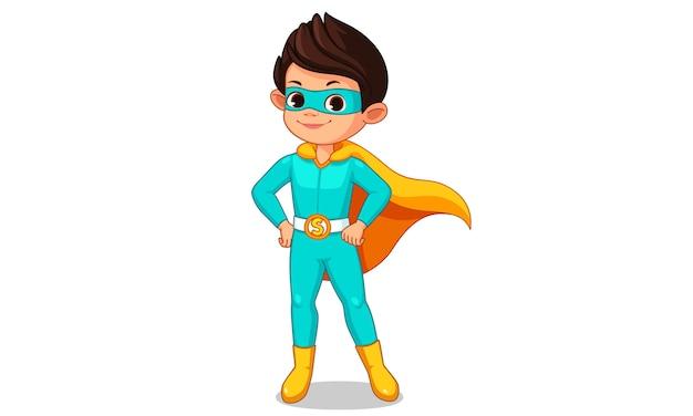 Dibujos animados de niño pequeño super héroe