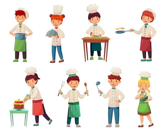 Dibujos animados niños cocineros. pequeño jefe de cocina, niño cocinando comida y jóvenes jefes de cocina conjunto de ilustración vectorial