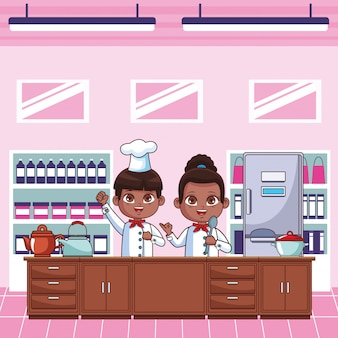 Dibujos animados de niños cocineros