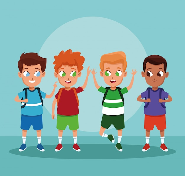 Dibujos animados de niños de escuela sobre fondo azul
