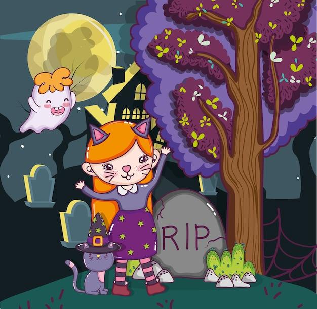 Dibujos animados de niños de halloween