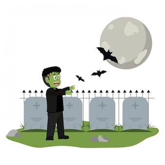Dibujos animados de niños y halloween