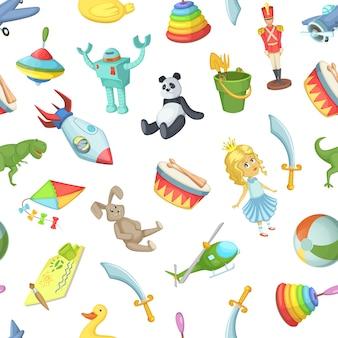 Dibujos animados niños juguetes de patrones sin fisuras
