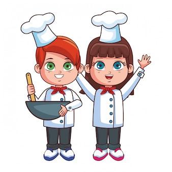 Dibujos animados de niños lindo chef