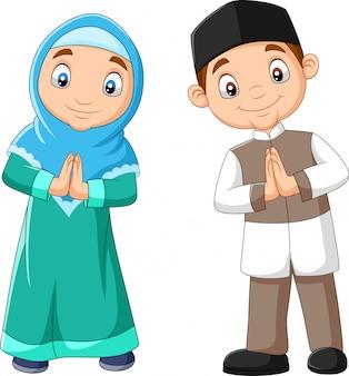 Dibujos animados de niños musulmanes felices