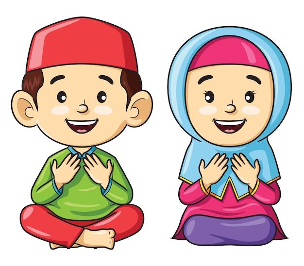 Dibujos animados de niños musulmanes sentados mientras rezan