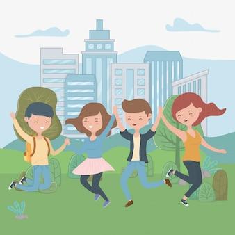 Dibujos animados de niños y niñas adolescentes