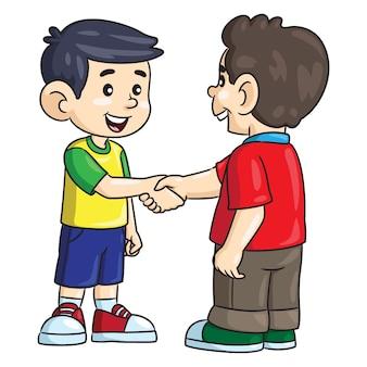 Dibujos animados de niños pequeños dándose la mano