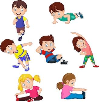 Dibujos animados de niños yoga con diferentes posturas de yoga