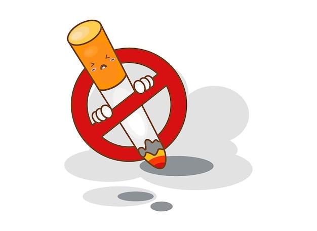Dibujos animados de no fumar sobre un fondo blanco