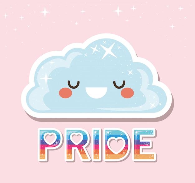 Dibujos animados de nube kawaii lgtbi con diseño de texto de orgullo
