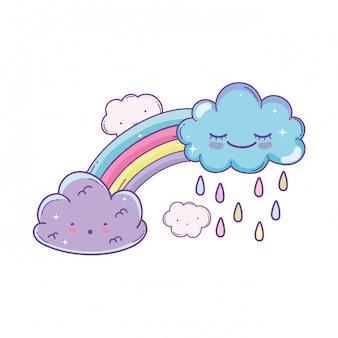 Dibujos animados de nubes y arco iris