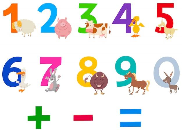 Dibujos animados de números con animales de granja