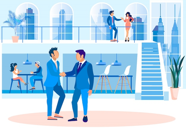 Dibujos animados de oficina de coworking creativo