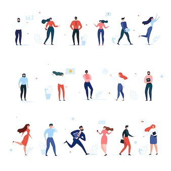 Dibujos animados oficina personas carácter comunidad plana conjunto