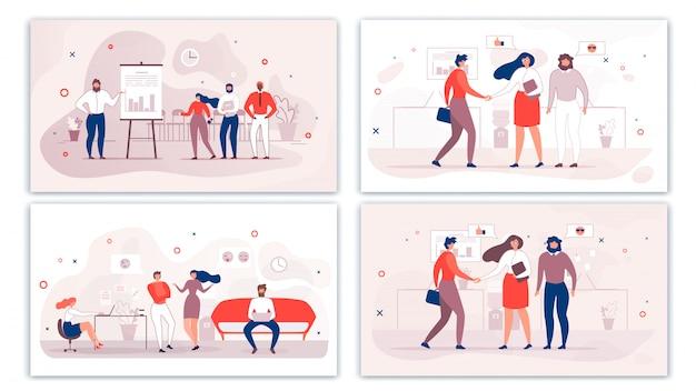 Dibujos animados oficina personas personajes comunicación conjunto