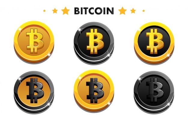 Dibujos animados de oro y negro icono de bitcoin. monedas digitales o virtuales monedas y efectivo electrónico