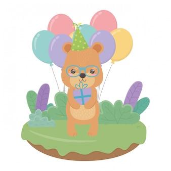 Dibujos animados de oso con feliz cumpleaños