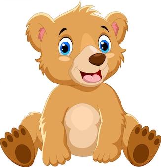 Dibujos animados oso pardo sentado