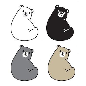 Dibujos animados de oso polar sentado