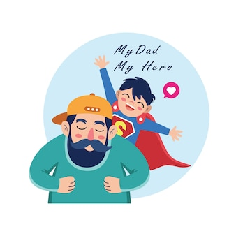 Dibujos animados de padre e hijo celebrando el día del padre