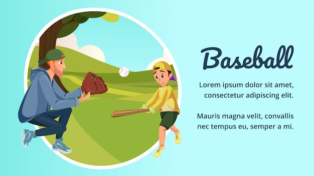 Dibujos animados padre e hijo juegan béisbol americano