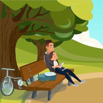 Dibujos animados padre sentado en el banco con el hijo en el parque