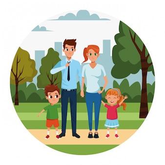 Dibujos animados padres e hijos en el parque