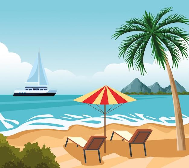 Dibujos animados de paisaje de la costa